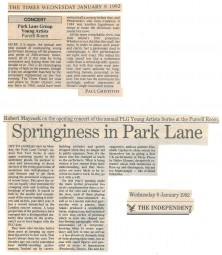 Reviews, 1992, The Independent and The Times