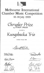 Prize, 1999, Melbourne International Chamber Music Competition