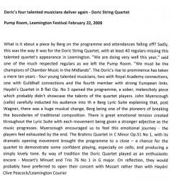 Review, 2008, Leamington Festival