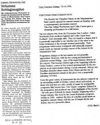 Reviews, 1998, Marianischer Saal Luzern