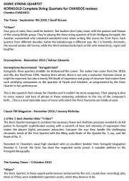 CD Reviews, 2010, Korngold String Quartets, p1