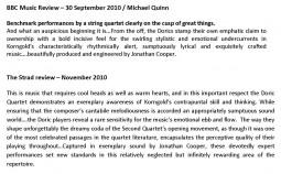 CD Reviews, 2010, Korngold String Quartets, p2