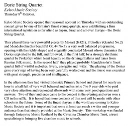 Review, 2009, Kelso Music Society