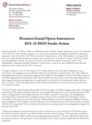 Press Release, 2014, Houston Grand Opera, p1