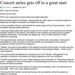Review, Bournemouth Symphony Orchestra, 2014